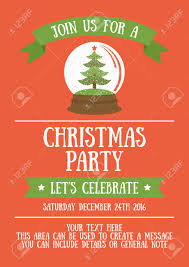 Christmas Invitation Card Christmas Party Invitation Card Design Vector Illustration