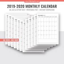 2019 2020 Monthly Calendar 18 Month Calendar Monthly Planner Printable Planner Inserts Planner Template Filofax A5 A4 Letter Size