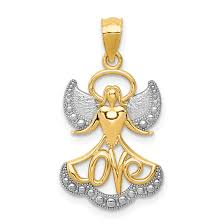 14k yellow gold angel love pendant charm necklace religious fine jewelry for women gift set