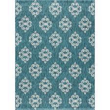 teal geometric rug
