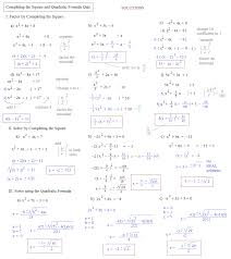completing the square quadratic formula quiz solutions