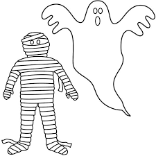 Small Picture Mummy and White Ghost Coloring Page Download Print Online