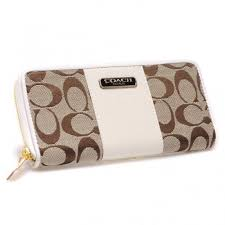 Coach Logo In Signature Large White Wallets CHW