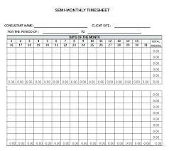 Bi Weekly Time Sheet Semi Monthly Timesheet Excel Monthly Calculator Semi Monthly Time