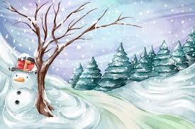 Premium Vector   Watercolor <b>winter landscape</b> with <b>snowman</b>