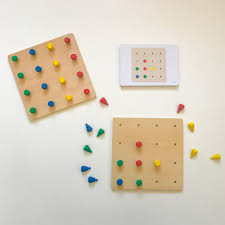Wooden Peg Board Game Montessori Wooden Peg Boards Game Jolly B Kids 53