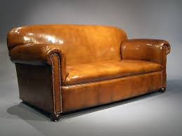 antique leather edwardian drop arm sofa