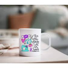 If you've never used a coffee machine, the brewing process can be anything but intuitive. Simply Crafty Mask Maker Sewing Proverbs She Works Willingly With Her Hands Coffee Mug