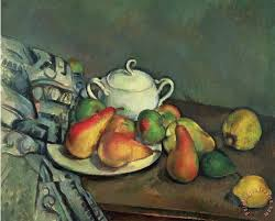 still life with sugar basin and fruit painting paul cezanne still life with sugar basin