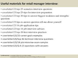 Cover Letter For Retail Manager Samples