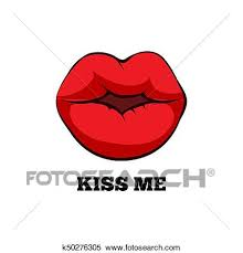 women red kissing lips clipart