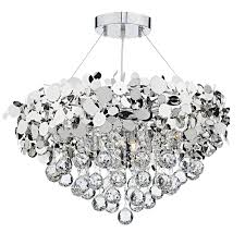 dar lighting luxor lux1350 9 light crystal pendant