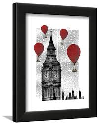 big ben and red hot air balloons framed print wall art by fab funky com