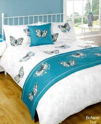 details about 5pc botanic erfly teal super king size bed in a bag duvet cover bedding set