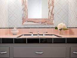 chic style with pink bathroom tiles