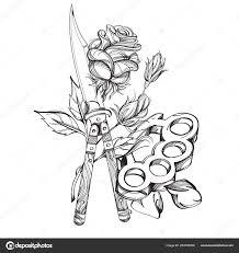 кинжал кастет розы контуру шаблон окраски татуировки векторное