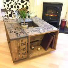 rustic crate coffee table on wheel
