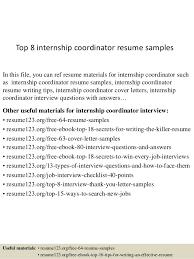 Resume Samples For Internships Top 8 Internship Coordinator Resume Samples