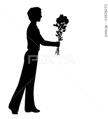 Silhouette Of A Man With Flowersのイラスト素材 13698251 Pixta