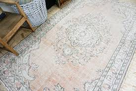 turkish oushak rug shabby chic soft pastel colors distressed handmade carpet