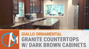 giallo ornamental granite countertops with dark brown cabis refinish oak cabinets oak cabinets to white