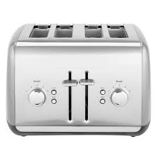 120 volts kitchenaid kmt4115cu contour silver four slice toaster with manual lift