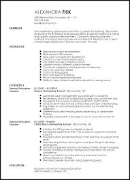 Cv Template Education Free Creative Special Education Teacher Resume Template