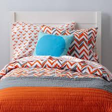 little prints kids duvet cover (orange zigzag)  the land of nod
