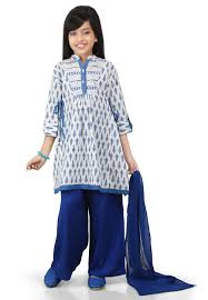 Pakistani Kids Salwar Kameez Designs Printed Cotton Pakistani Suit In Off White Kids Indian