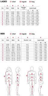 46 Regular Size Chart Size Chart Rukka