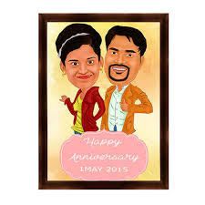 anniversary gift caricature theme desktop photo frame