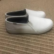 keds white double decker leather slip on