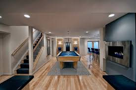 basement remodelers. Man Cave Ideas Modern Basement With Light Hardwood Flooring Home Design Remodel Remodelers