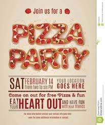 Party Invites Templates Free Pizza Party Invitation Template Stock Vector Illustration Of