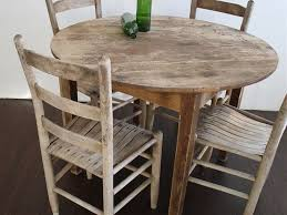 impressive inspiring distressed round dining table with vintage