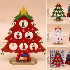 diy wooden christmas tree christmas ornament gift for xmas party decoration red