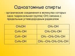Кислородсодержащие органические соединения Спирты химия  Одноатомные спирты органические соединения в молекулах которых одна гидроксильная группа ОН связана