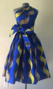 Clothing Design Ideas make a statement african wax print one shoulder dress 100 cotton with side zipper and removable tie sash royal blue yellow brown wavy print