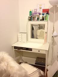 bedroom vanity diy wood makeup table painted with whitelor plus storage above mirror and drawer in