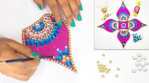 Kundan Rangoli Designs Small How To Make Easy Attractive Rearrangable Kundan Rangoli Diwali Decoration Ideas Diwali Special