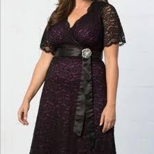 Kiyonna Black Retro Glam Lace Dress With Purple