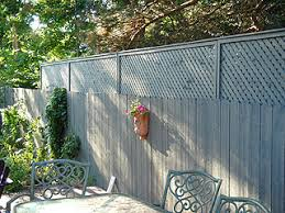 Solid privacy fence with screen extension.