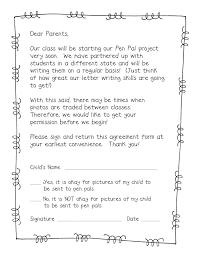 Pen Pal Freebie Parent Permission Slip School Classroom