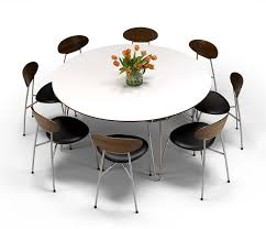 modern danish corian and walnut round dining table