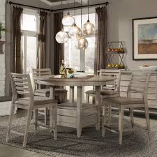 corliss landing wood counter height table in weathered counter height round table with swivel chairs