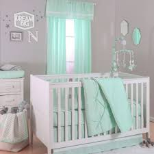 the peanut shell 4 piece baby crib bedding set mint green pintuck and confetti dot prints 100 cotton quilt dust ruffle fitted sheet