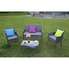eton outdoor rattan garden furniture set 4 piece grey