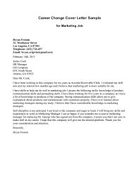 Cover Letter For Career Change Sample For Marketing Job