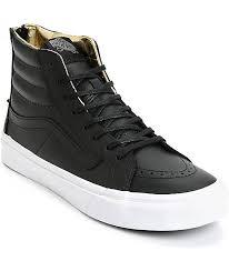 vans sk8 hi slim black gold leather shoes