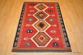 details about southwestern wool kilim area rug 4 x 6 handmade red and blue navajo oriental